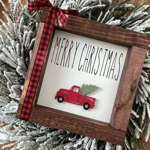 Mini wood sign red truck Rae Dunn inspired